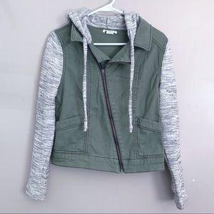 Love Fire | Olive Green Moto knit utility jacket